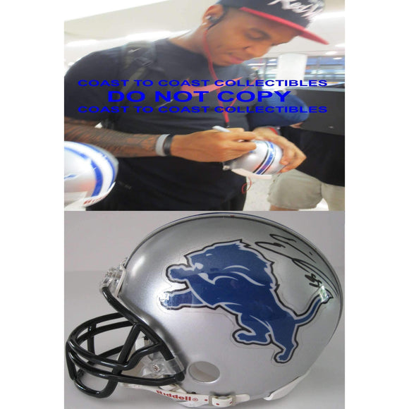 Eric Ebron, Detroit Lions, Signed, Autographed, Mini Helmet, a COA with the Proof Photo of Eric Signing Will Be Included