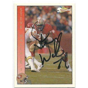 1992, Steve Wallace, San Francisco 49ers, Signed, Autographed, Pacific Football Card, Card # 285,