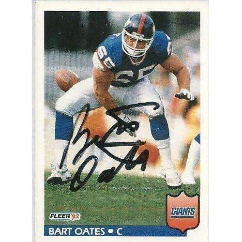 1992, Bart Oates, New York Giants, Signed, Autographed, Fleer Football Card, Card # 299,