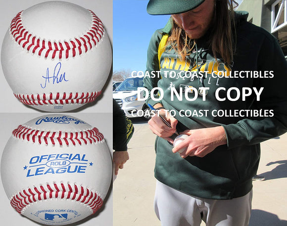 AJ Puk Oakland Athletics A's signed autographed baseball COA exact proof
