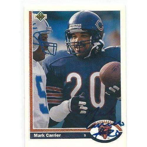 1991, Mark Carrier, Chicago Bears, Signed, Autographed, Upper Deck Football Card, Card # 434,