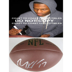 Mike Wallace, Baltimore Ravens, Pittsburgh Steelers, Mississippi, Signed, Autographed, NFL Football, a COA with the Proof Photo of Mike Signing Will Be Included