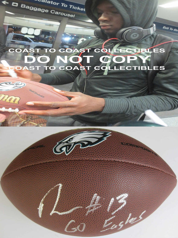 Nelson Agholor, Philadelphia Eagles, Signed, Autographed, NFL Logo Football, ,