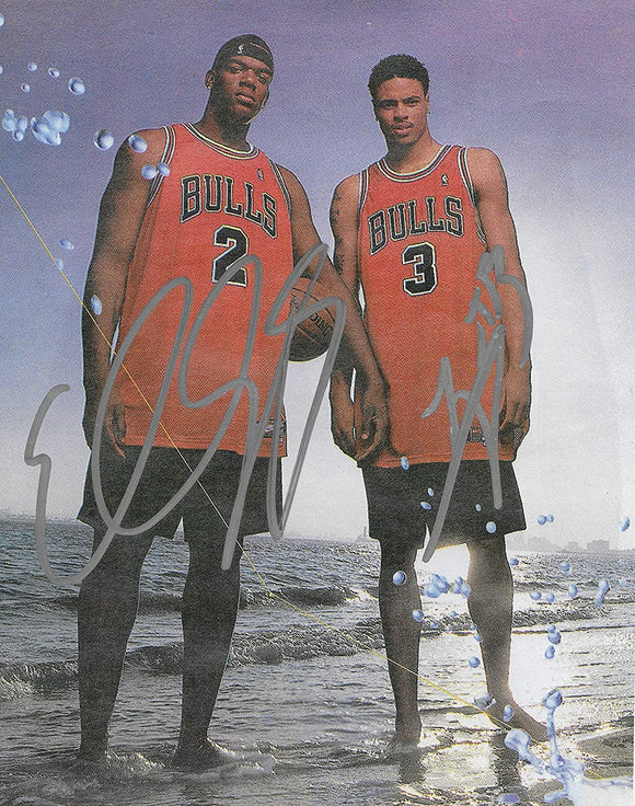Tyson Chandler Eddy Curry signed Chicago Bulls basketball 8x10 photo COA
