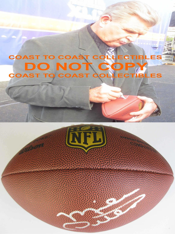 Mike Ditka Chicago Bears, Signed, Autographed, NFL Duke Football, a COA with the Proof Photo of Mike Signing Will Be Included with the Football