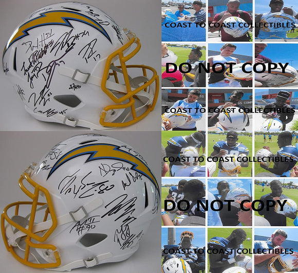 2019 Los Angeles Chargers team signed full size speed football helmet COA proof