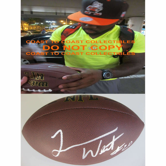 Terrance West, Cleveland Browns, Signed, Autographed, NFL Football, a Coa with the Proof Photo of Terrance Signing Will Be Included