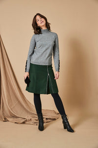 Grey Turtleneck with Button Cuff