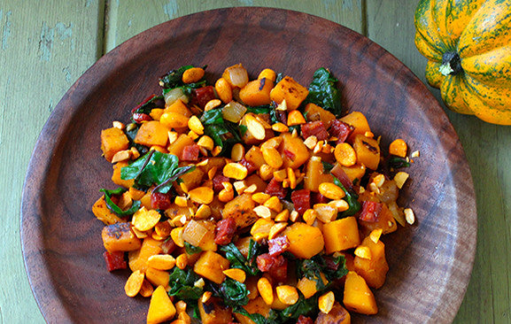 Winter Squash with Chorizo, Swiss Chard & Almonds