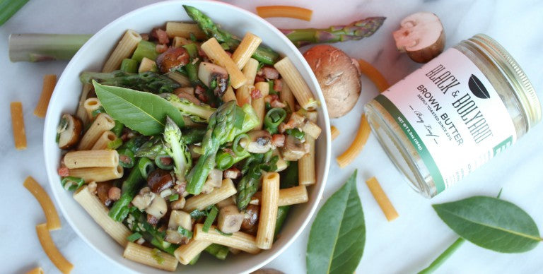 Mushroom Penne with Asparagus & Bay Leaf Brown Butter
