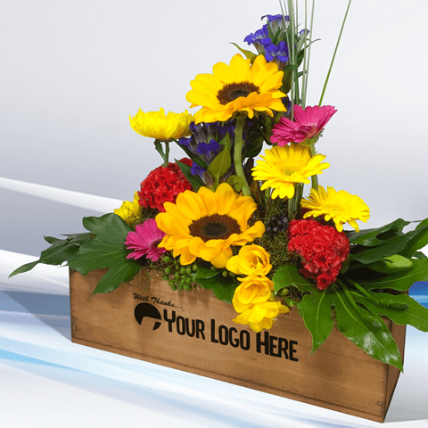 Your logo here on a personalised flower fox box corporate gift