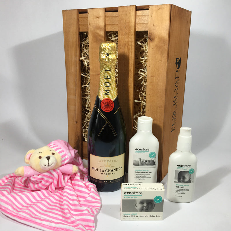 Baby girl cuddy toy and champagne gift