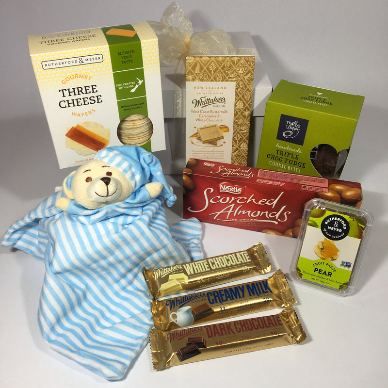 Baby boy gift basket with chocolates for mother