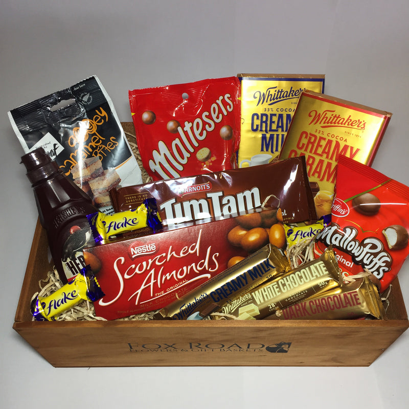 large Gift hamper filled with chocolate goodies