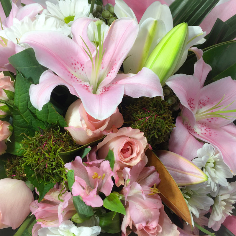 Close up of Valentine's Day flowers like Lilies and Roses