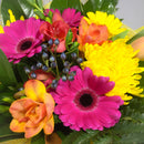 Bright Yellow Gerberas and Pink Tulip Flowers in a Vox box