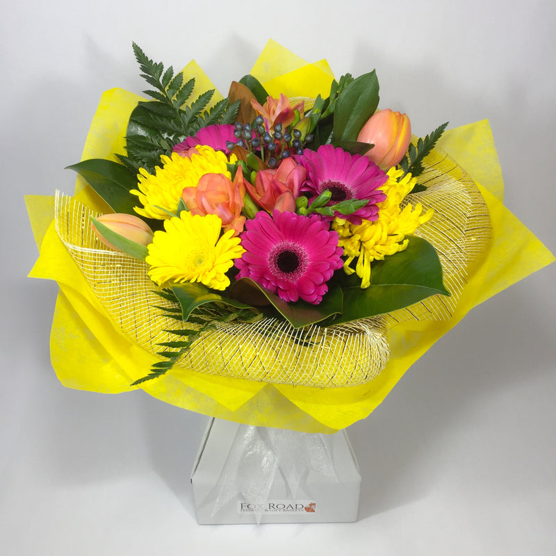 Bright Yellow Gerberas and Pink Tulip Flowers