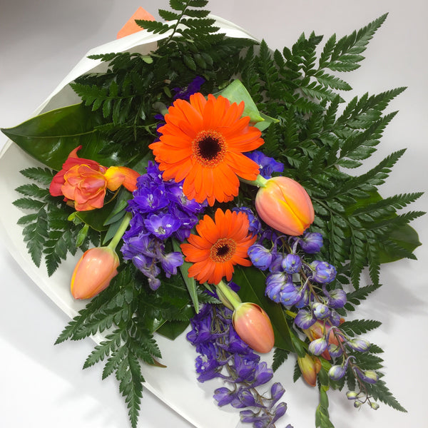 Orange and Blue Gerbera, Delphinium and Lower Hutt Tulips
