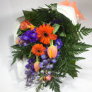 Orange and Blue Gerbera, Delphinium, and Tulip Flowers