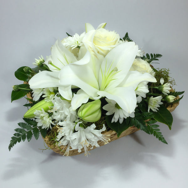 Basket with White Lilies, Roses, Flowers and Greenery