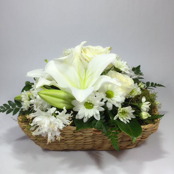Basket with White Lilies, Roses, Flowers and Green Moss