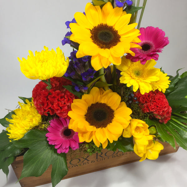 Bright Wellington flowers inside Wooden Box