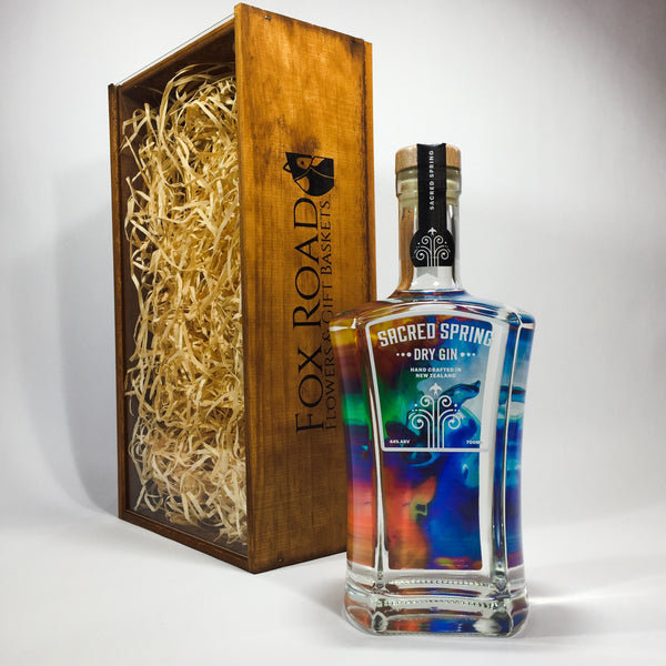 Sacred Spring Gin in a wooden gift crate