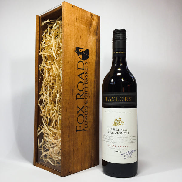 Taylors Estate Cabernet Sauvignon Wine in a Wooden Crate
