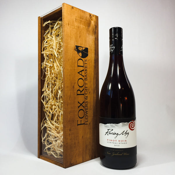 Roaring Meg Pinot Noir with a Wooden Box