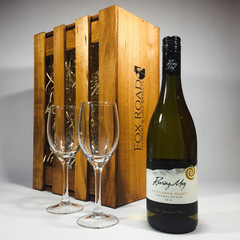Roaring Meg Sauvignon Blanc in a Wooden Box with Wine Glasses