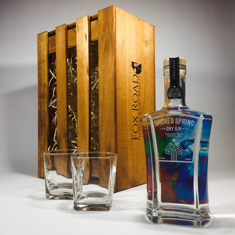 Sacred Spring Gin gift in a wooden crate with glasses tumblers