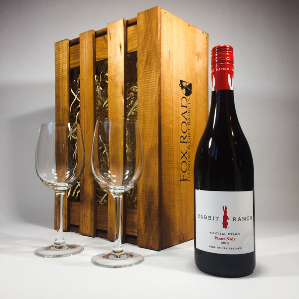 Rabbit Ranch Pinot Noir with Wine Glasses and Wooden Crate