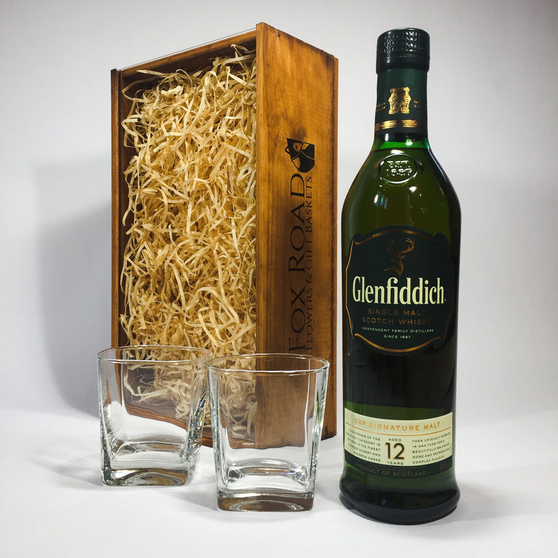 Glenfiddich whisky in a Christmas gift basket