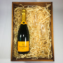 Veuve Clicquot Champagne in a wooden gift hamper