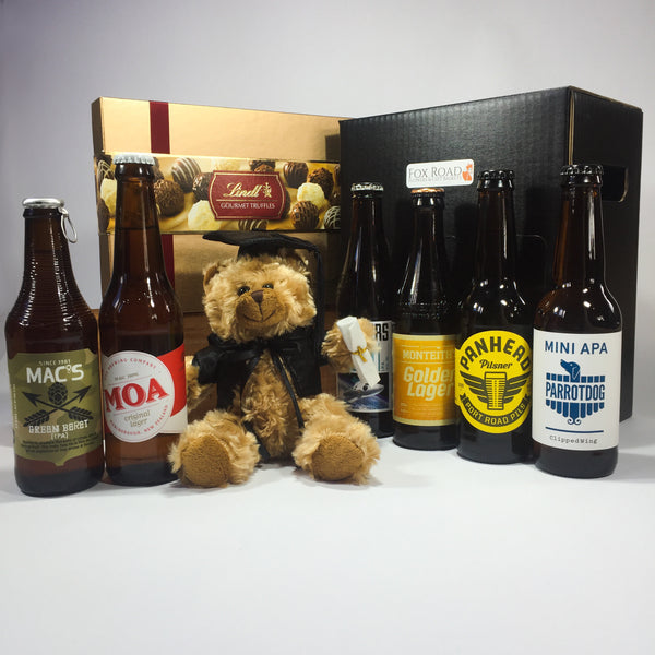 Graduation Bear with beers and chocolates for Victoria University
