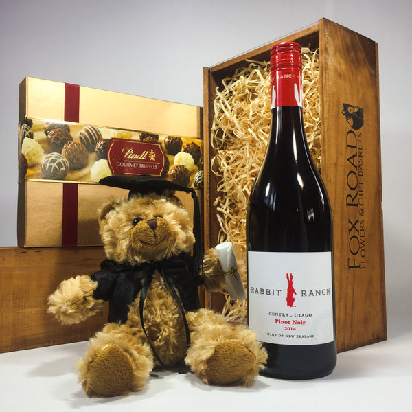 Graduation Bear with wine and Lindt truffles