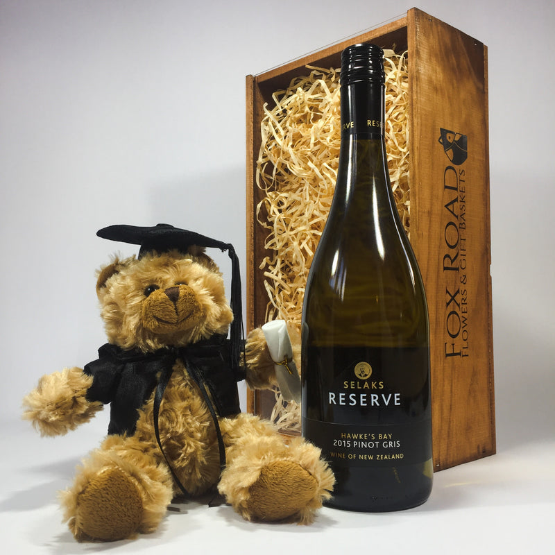 Pinot Gris graduation wine and bear