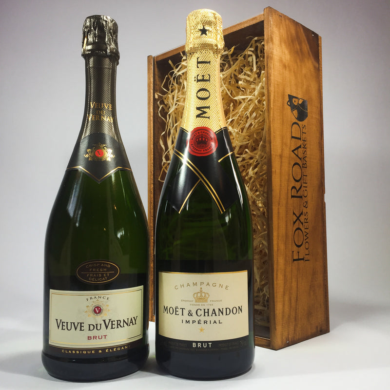 Moet Champagne and Veuve Du Vernay Sparkling Wine in a Wooden Box