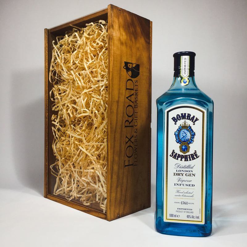 Groomsman Gift of Bombay Sapphire Gin in a wooden box