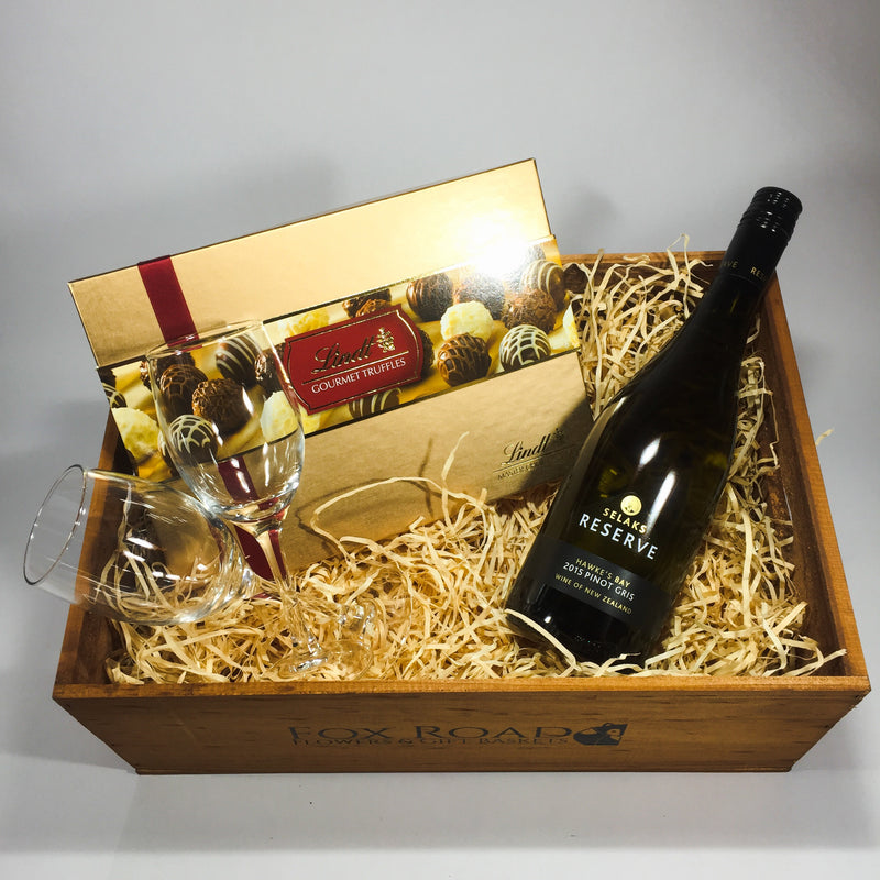 Lindt truffles selaks wine gift hamper for Upper Hutt
