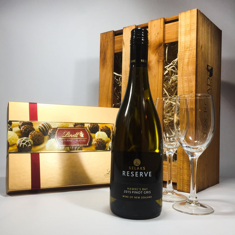 Wellington Gift Baskets present lindt truffles and selaks wine