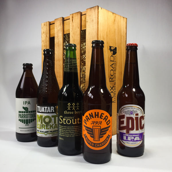 Five craft beers in a gift box including Panhead, Epic, Three Boys, Tuatara and Parrotdog