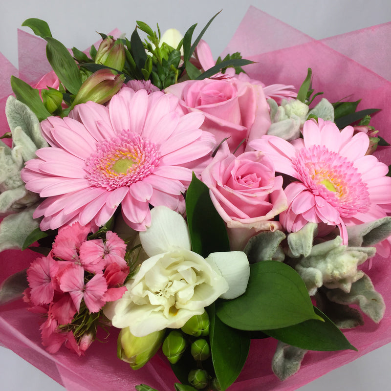 Gerberas, roses, fresias, sweet william, alstroemeria bouquet