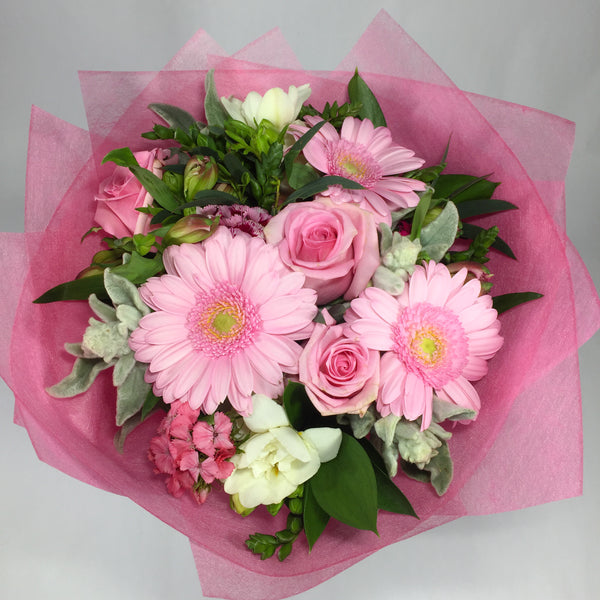 Gerberas, roses, fresias, sweet william, alstroemeria and Wellington flowers