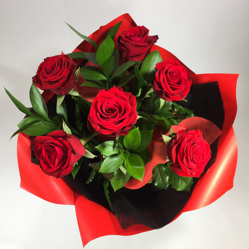 six red roses bouquet Wellington