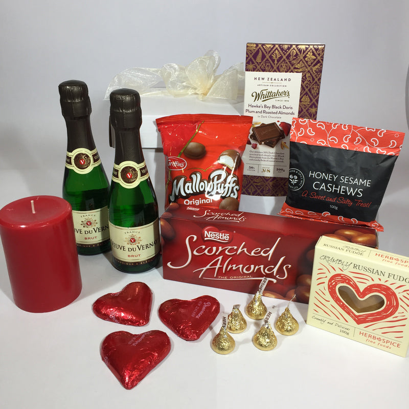 Valentine's Day Gift Basket with Sparkling Wine for Lower Hutt