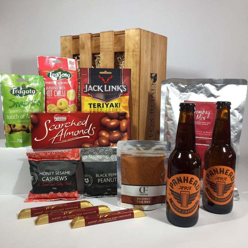Beef jerky, beer and olives gift hamper