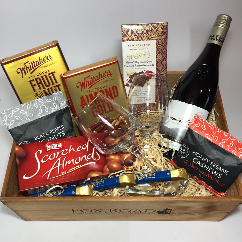 Nuts, wine and scorched almonds Father's day gift hamper