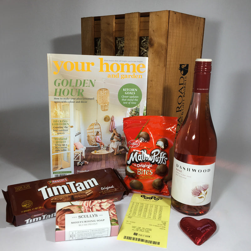 Mother's day gift basket with magazine and wine