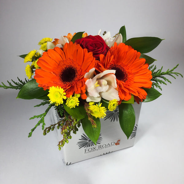 Birthday flowers in a box with gerberas